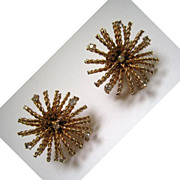Bergere Goldtone Starburst Rhinestone Earrings