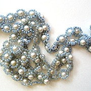 Unsigned Artificial Pearl Blue Seed Bead Necklace