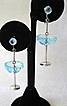 Sterling Silver Blue Martini Glass Earrings