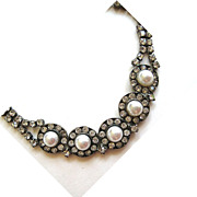 SALE Silver Tone Faux Pearl Rhinestone Necklace