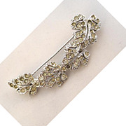 Silvertone Maple Leaf Curved Bar Brooch/Pin