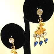 Gold-Filled Blue and Clear Rhinestone Floral Sweep Earrings