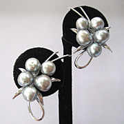SALE Unsigned Silvertone Grey Baroque Faux Pearl Earrings