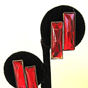 SALE Sterling Silver Red Glass Double Rectangle Earrings