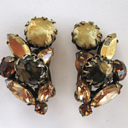 SALE Regency Brown Art Glass and Rhinestone Earrings