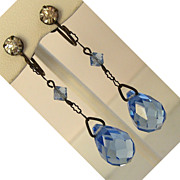 Art Deco Blue Crystal Earrings