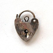 SALE Sterling Silver English Heart Lock Charm