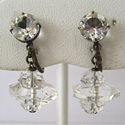 SALE Art Deco Japanese Silver Crystal Drop Earrings