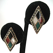 SALE Sterling Silver Inlaid Stone and Marcasite Earrings