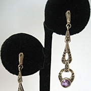 SALE Sterling Marcasite Amethyst Earrings