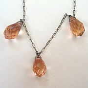 SALE Art Deco Pink Crystal Drop Pendant