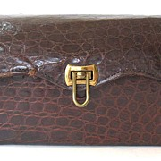 Alligator Purse with Faux Tortoise-shell Celluloid Handle