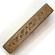 Victorian Yellow Gold-Filled Engraved Brooch/Pin