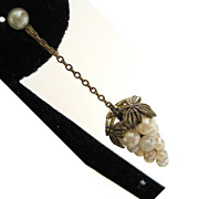 SALE Brass Faux Pearl Grape Earrings