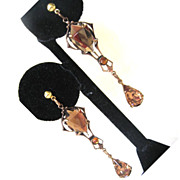 SALE Art Deco Mirrored Glass Gold Metal Earrings