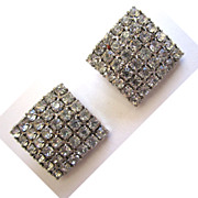 SALE Square Pave-Set Clear Rhinestone Earrings