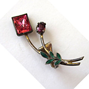 SALE Art Deco Petite Sterling, Enamel and Rhinestone Floral Dress Clip