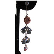 SALE Turn of the Century Carved Wood and Metal Enamel Earrings