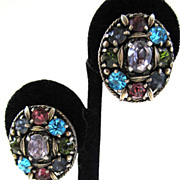 SALE Unsigned Pastel Rhinestone Oval Earrings