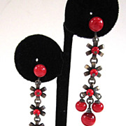 SALE Art Deco Red Glass and Silver-Tone Bead Chandelier Earrings