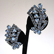 SALE Blue Rhinestone Fan Earrings