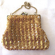 SALE Gold Sequined Bag with Ball Clasp