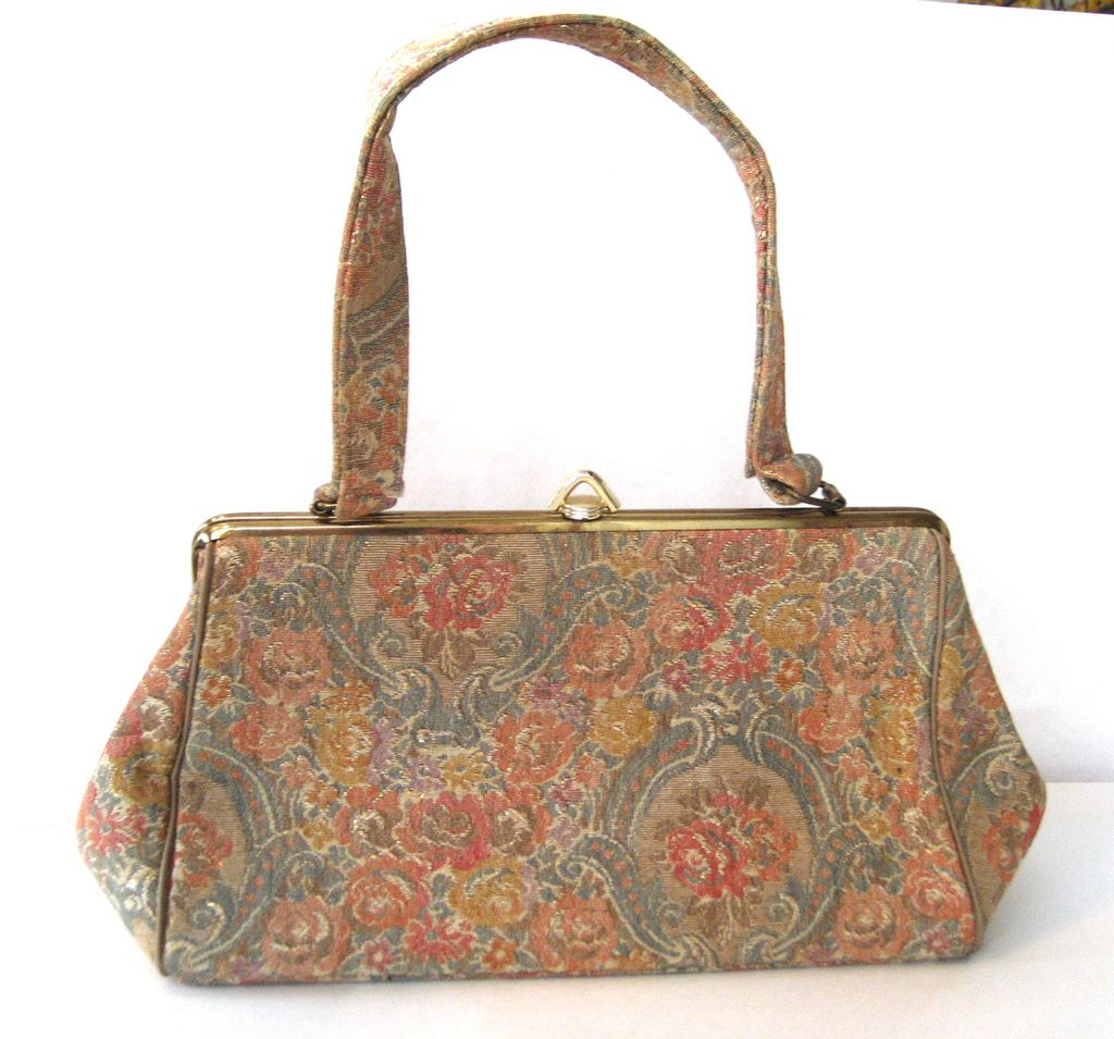Pastel Floral Tapestry Purse/Handbag