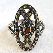 SALE Sterling Silver Garnet Marcasite Ring