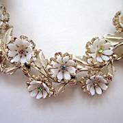 SALE Art Gold-Tone White Plastic Floral Pastel Rhinestone Choker/Necklace