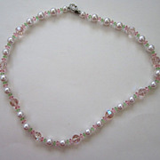 SALE Pink, Green and Faux Pearl Crystal Necklace with Rhinestone Clasp