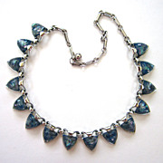 SALE Coro Blue Confetti Triangular-Shaped Choker/Necklace