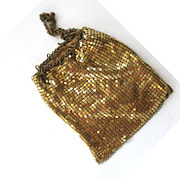 SALE Whiting and Davis Gold-tone Mesh Drawstring Bag