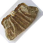 SALE Whiting and Davis Gold-tone Mesh Clutch/Handbag with Rhinestone Clasp