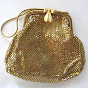 SALE Whiting and Davis Gold-tone Mesh Handbag with Rhinestone Bow Clasp