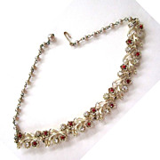 SALE Lisner Leaf and Red Rhinestone Faux Pearl Necklace/1Choker