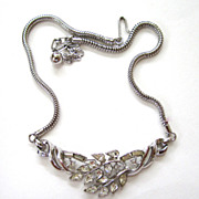 SALE Crown Trifari Silver-tone Leafy Branch Choker/Necklace
