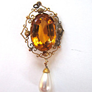SALE Filigree Glass Gold Rhinestone with Faux Pearl Drop Pendant