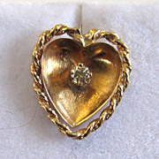 SALE 18K Yellow Gold and Yellow Diamond Heart Earrings