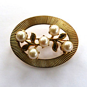 SALE Gold-Filled Cultured Pearl Sunburst Brooch/Pin