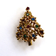 SALE Gold-Tone Rhinestone Christmas Tree Brooch/Pin