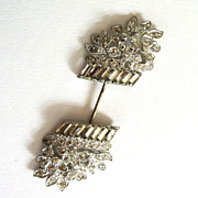 SALE Silver-tone Rhinestone Basket of Flowers Hat Pin