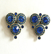 SALE Cobalt Blue Circular/Triangular Decorative Dress Clips