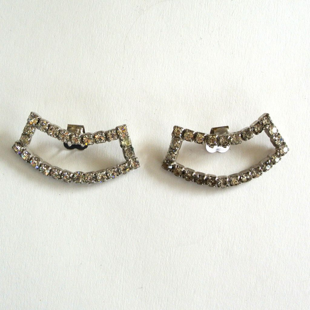 Rectangular Curved Rhinestone Shoe Clips