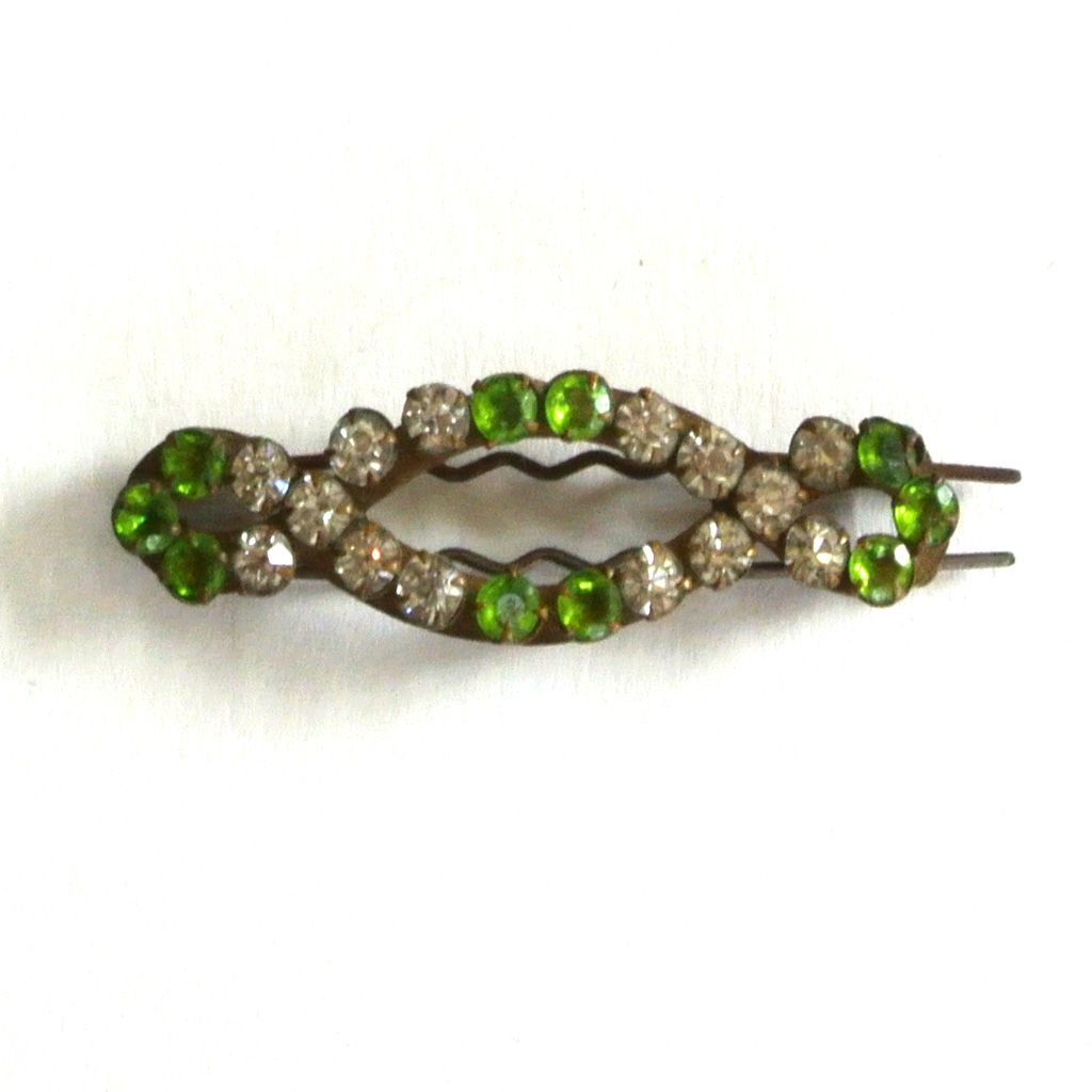 Brass Green and Clear Rhinestone Barrette