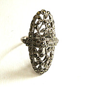 SALE Art Deco Sterling Silver Marcasite Filigree Ring