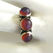 SALE Sterling Red Frosted Glass Ring