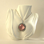 SALE Art Deco Filigree Pink Glass Pendant/Necklace