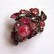 SALE Schreiner of New York Art Glass Pink Brooch/Pin