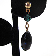 SALE Sarah Coventry &quot;Night Garden&quot; Glass Earrings in Original Box