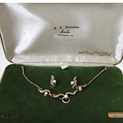 SALE Van Dell 1/20 12K Gold-Filled Demi-Parure: Necklace/Earrings In Original Box